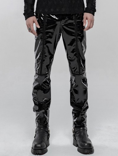 Punk Rave Black Gothic Punk Mechanical PU Leather Trousers for Men