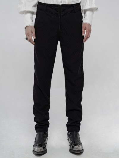 Punk Rave Black Retro Gothic Gorgeous Jacquard Pants for Men