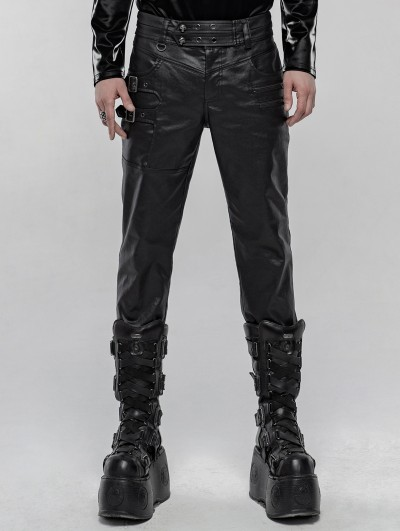 Punk Rave Black Gothic Punk Skull PU Leather Pants for Men