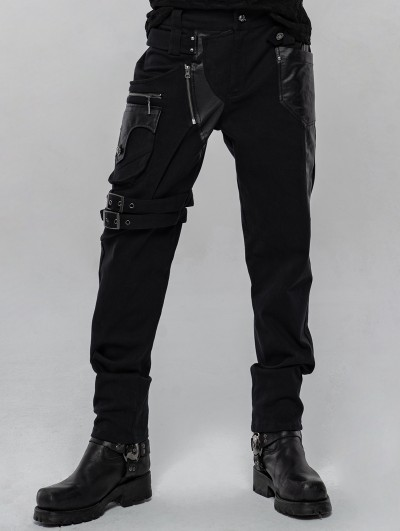 Punk Rave Black Gothic Punk Metal Long Trousers for Men