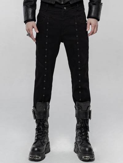 Punk Rave Black Gothic Punk Winter Trousers for Men