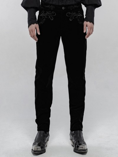 Punk Rave Black Retro Gothic Embroidered Trousers for Men