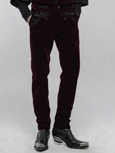 Punk Rave Red Retro Gothic Embroidered Trousers for Men