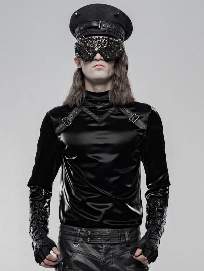 Punk Rave Black Gothic Punk Long Sleeve T-Shirt for Men