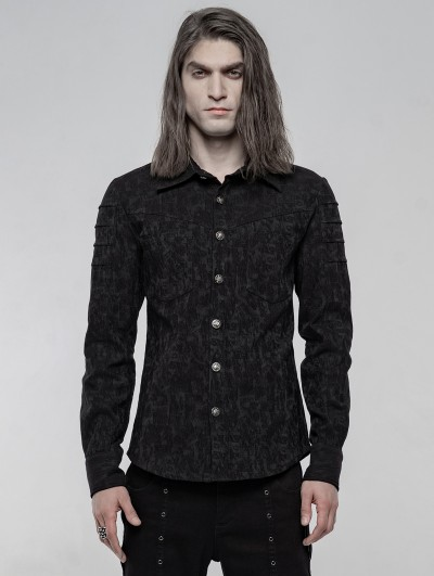 Punk Rave Black Gothic Punk Jacquard Long Sleeve Shirt for Men