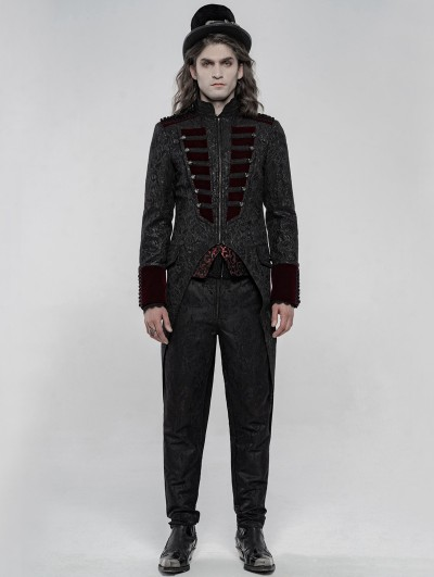Punk Rave Black and Red Gorgeous Retro Gothic Swallow Tail Coat for Men