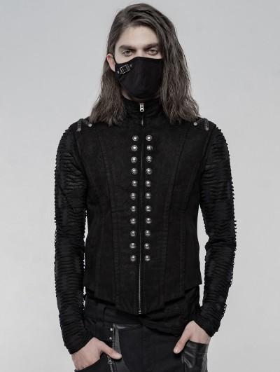 Punk Rave Black Gothic Punk Heavy Metal Short Vest for Men