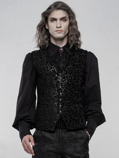 Punk Rave Black Retro Gothic Gorgeous Jacquard Vest for Men