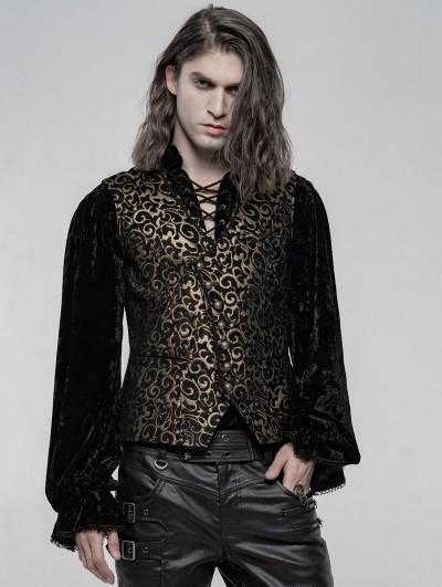 Punk Rave Gold Retro Gothic Gorgeous Jacquard Vest for Men