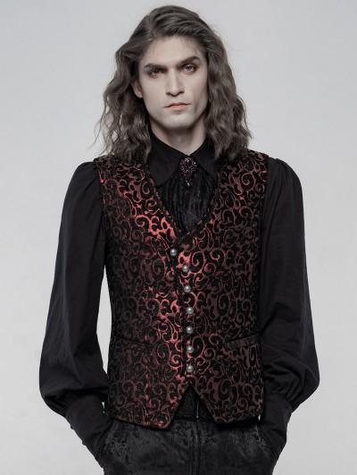 Punk Rave Red Retro Gothic Gorgeous Jacquard Vest for Men