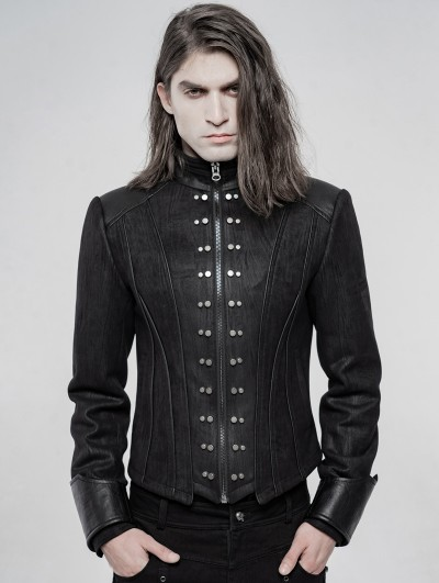 Punk Rave Black Gothic Punk Handsome Short Coat for Men