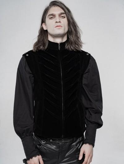 Punk Rave Black Vintage Velvet Gothic Vest for Men