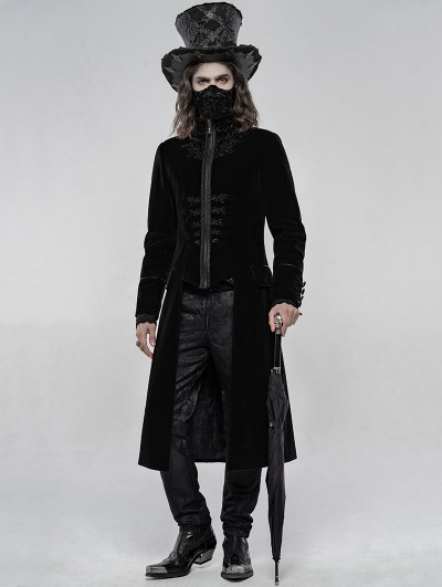 Punk Rave Black Retro Embroidered Velvet Gothic Long Coat for Men