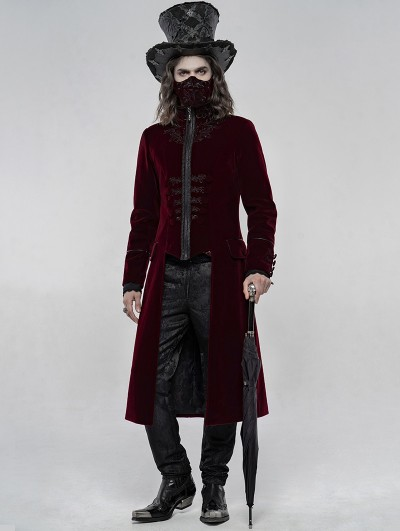Punk Rave Red Retro Embroidered Velvet Gothic Long Coat for Men