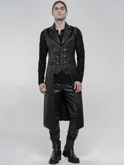 Punk Rave Black Gothic Punk Long Jacquard Vest for Men