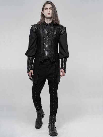 Punk Rave Black Gothic Punk Chinese Han Style Waistcoat for Men