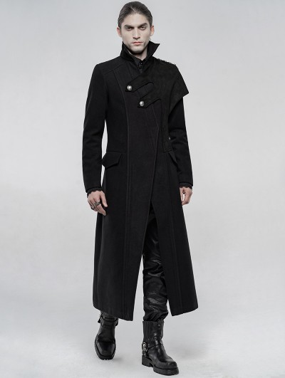 Punk Rave Black Gothic Military Uniform Woolen Long Coat for Men