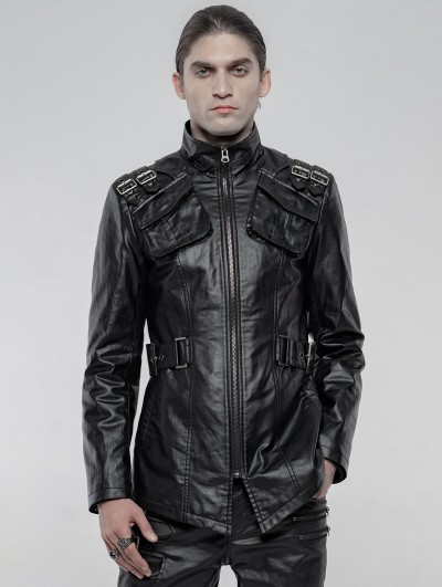 Punk Rave Black Gothic Punk Imitation PU Jacket for Men