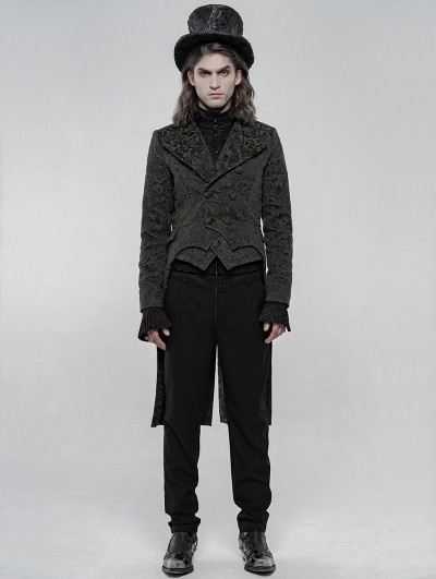 Punk Rave Black Vintage Gothic Jacquard Swallow Tail Coat for Men