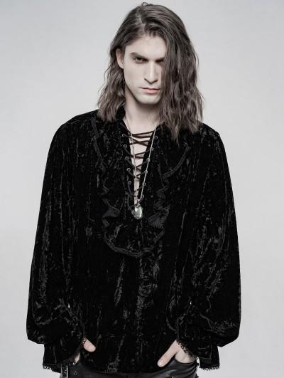 Punk Rave Black Retro Velvet Gothic Long Sleeve Shirt for Men