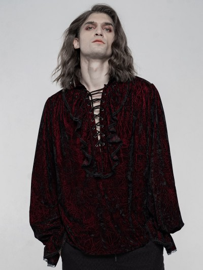 Punk Rave Dark Red Retro Velvet Gothic Long Sleeve Shirt for Men