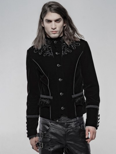 Punk Rave Black Vintage Embroidered Short Gothic Jacket for Men