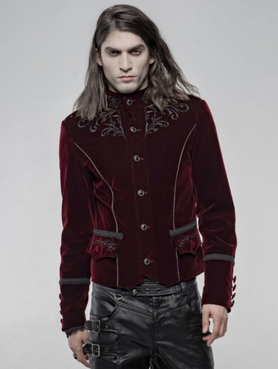 Punk Rave Red Vintage Embroidered Short Gothic Jacket for Men