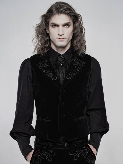 Punk Rave Black Vintage Embroidered Gothic Waistcoat for Men