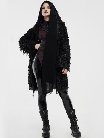 Punk Rave Black Decadent Dark Gothic Long Sweater Jacket for Women