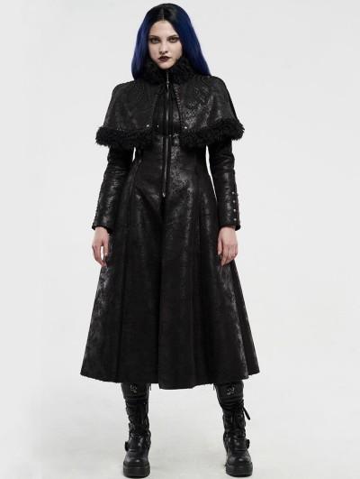 Punk Rave Black Gothic Imitation Fur Long Cape Coat for Women