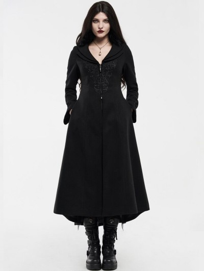 Punk Rave Black Gothic Embroidered Wool Long Winter Coat for Women