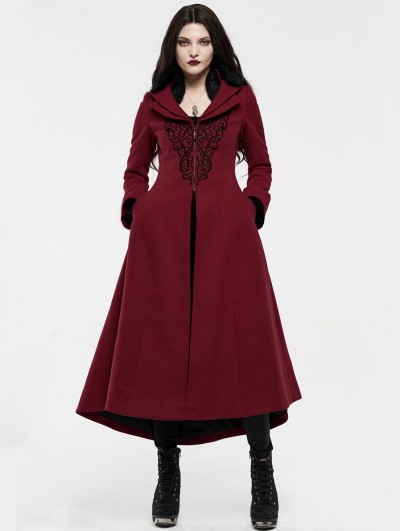 Punk Rave Red Gothic Embroidered Wool Long Winter Coat for Women
