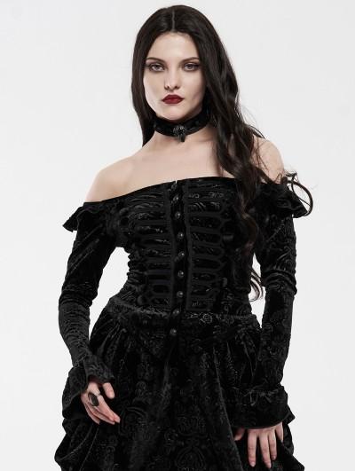 Punk Rave Black Gothic Victoria Royal Palace Velvet Shirt for Women