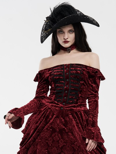 Punk Rave Red Gothic Victoria Royal Palace Velvet Shirt for Women