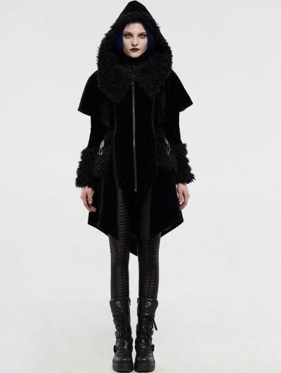 Punk Rave Black Velvet Winter Gothic Cape Coat for Women