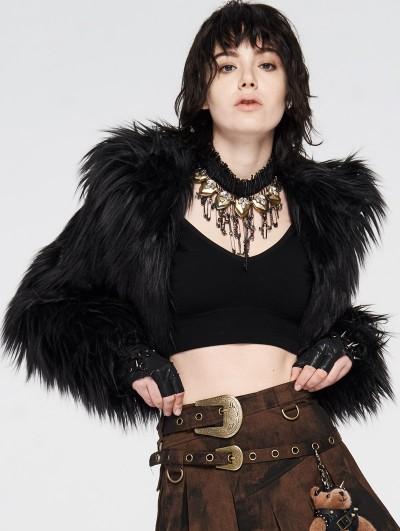 Punk Rave Black Gothic Punk Short Imitation Fur Coat for Women