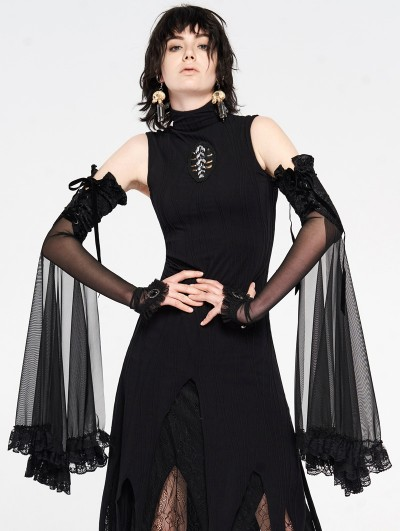 Punk Rave Gothic Lace Shadow Flower Long Gloves