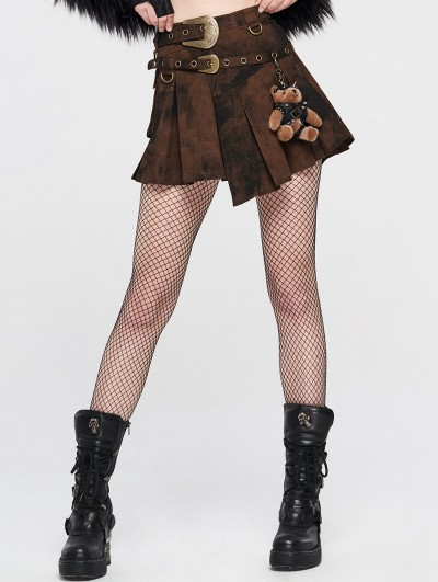 Punk Rave Brown Steampunk Asymmetrical Short Skirt