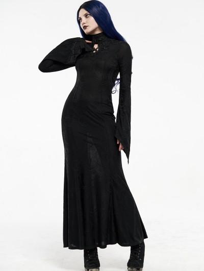 Punk Rave Black Gothic Jacquard Long Dress