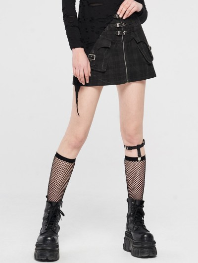 Punk Rave Black Gothic Punk Plaid Short Skirt