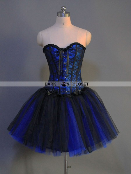 Blue And Black Gothic Short Burlesque Party Dress