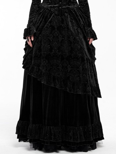 Punk Rave Black Gothic Victorian Gorgeous Court Long Skirt