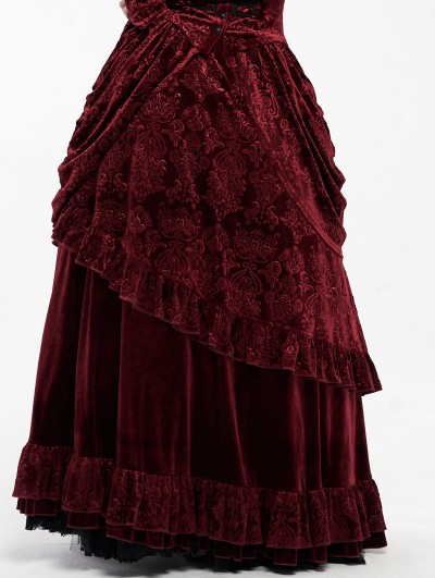 Punk Rave Red Gothic Victorian Gorgeous Court Long Skirt