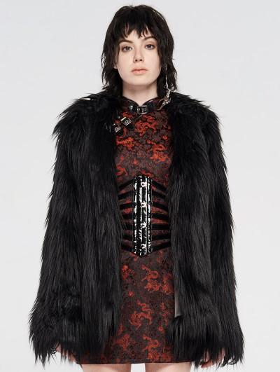 Punk Rave Black Gothic Punk Winter Imitation Fur Coat for Women