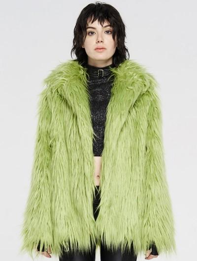 Punk Rave Green Gothic Punk Winter Imitation Fur Coat for Women