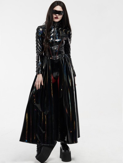 Punk Rave Cyber Rococo Laser Gothic Long Coat for Women