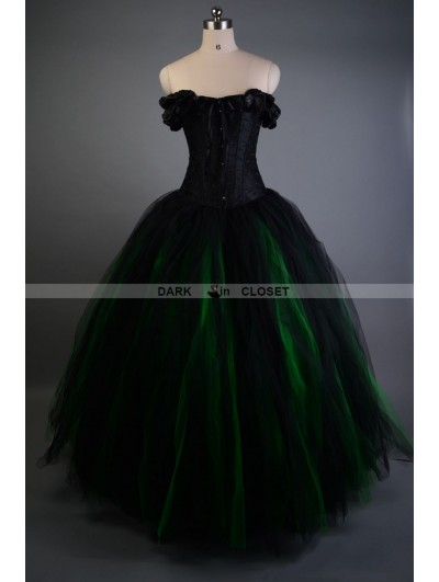 Black and Green Off-the-Shoulder Gothic Victorian Prom Gown