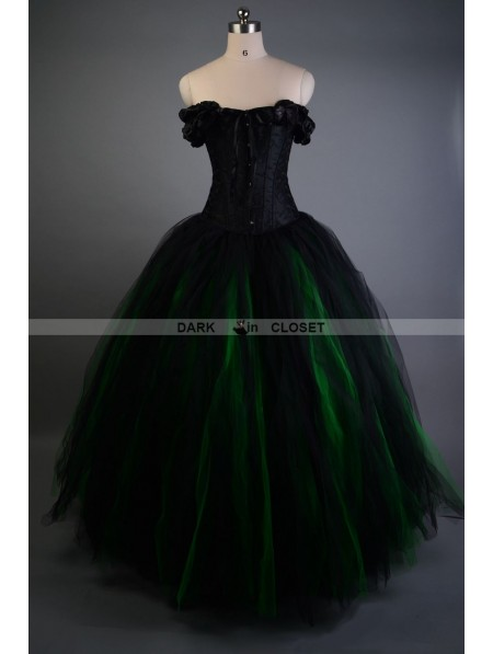 Black And Green Off The Shoulder Gothic Victorian Prom Gown