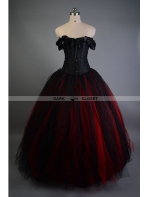 Black and Red Off-the-Shoulder Gothic Victorian Prom Gowns