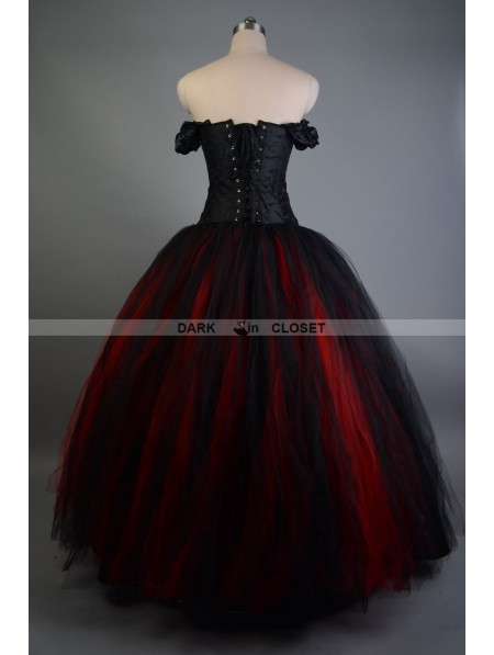 Black And Red Off The Shoulder Gothic Victorian Prom Gowns